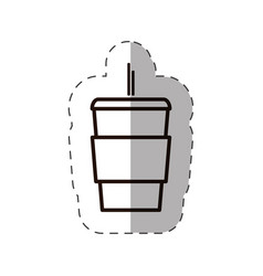 Paper coffee cup fresh with straw line vector