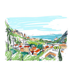 remarkable georgian landscape sketch colorful vector image vector image