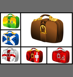 Set of bags with flags vector