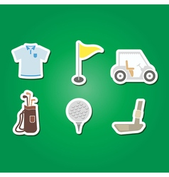 set of color with golf icons vector image
