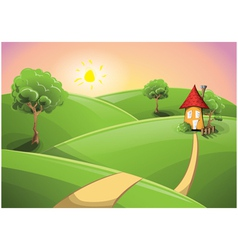 Small cartoon house on a sunset vector image
