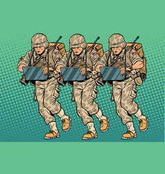 Squad modern cyber soldier vector