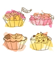 Tarts Doodle cakes with vector image vector image