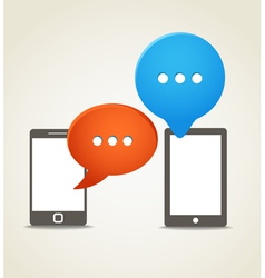 Two modern mobile phone with speech clouds vector image vector image