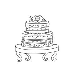 Wedding cake for wedding invitations or vector
