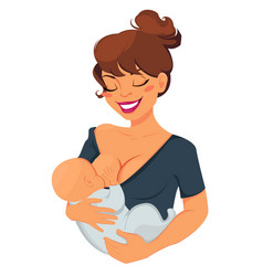 Woman breastfeeding newborn baby mother holding vector