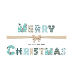 Merry christmas cute textile lettering vector