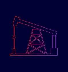 Oil drilling rig sign  line icon with vector