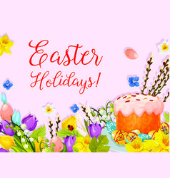 Easter paschal cake egg willow flower card vector