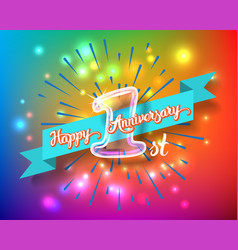 Happy 1st anniversary glass bulb numbers set vector