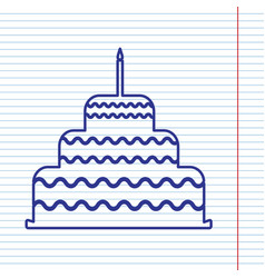 Cake with candle sign navy line icon on vector