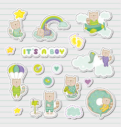 Baby boy stickers patches for baby shower party vector