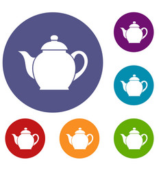 Teapot icons set vector