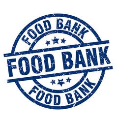 Food bank blue round grunge stamp vector