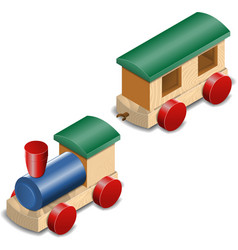 Wooden toy train isolated on white vector