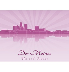 Des moines skyline in purple radiant orchid vector