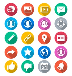 Social network flat color icons vector image
