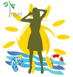 Travel girl with mobil phone vector