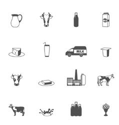 Milk Black Icons Set vector image