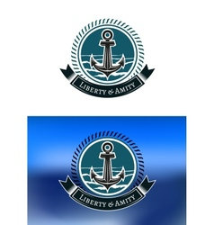 Nautical badges with ships anchors vector