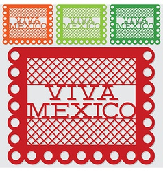 Mexican papel picado paper flag decoration set in vector