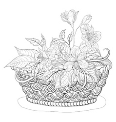 Basket with flowers contours vector