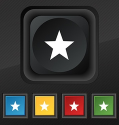 Star favorite icon symbol set of five colorful vector