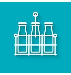 Milk bottles in basket on blue background vector