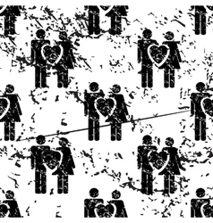 Love couple pattern grunge monochrome vector