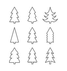 Thin line icon set of christmas trees vector