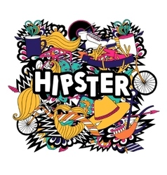 Hipster lifestyle symbols composition flat poster vector image