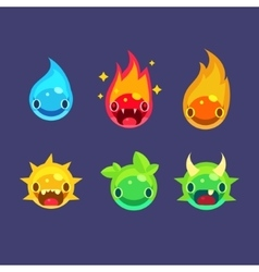 Flash game power elements set vector