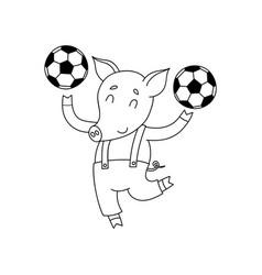 Cheerful pig with balls cartoon happy vector