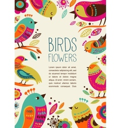 Colorful background with cute decorative birds vector