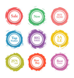 colorful paper circle sticker label bann vector image vector image