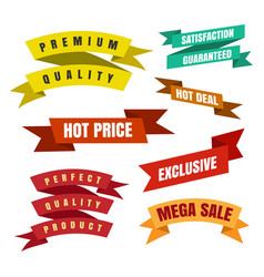 Colorful ribbon labels and stickers vector
