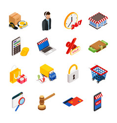 electronic commerce isometric icon set with vector image vector image