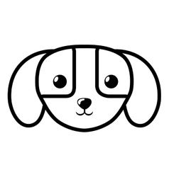 Face dog domestic mammal outline vector