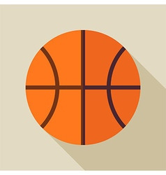 Flat Sports Ball Basketball with Long Shadow vector image vector image