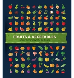 Fruit and vegetables set of icons fresh food vector