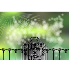Garden gate and light vector