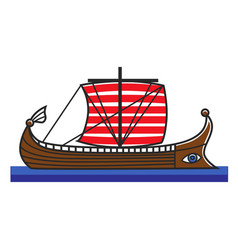 Greek boat odyssey argonauts for greece travel vector