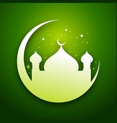 Green eid mubarak graphic card vector