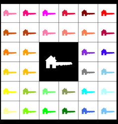 Home key sign felt-pen 33 colorful icons vector