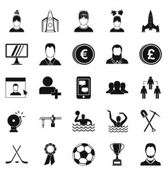 leader icons set simple style vector image