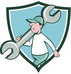 Mechanic monkey wrench walking crest cartoon vector