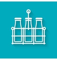milk bottles in basket on blue background vector image vector image