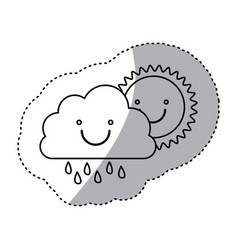 Monochrome contour sticker of smiling cloud with vector