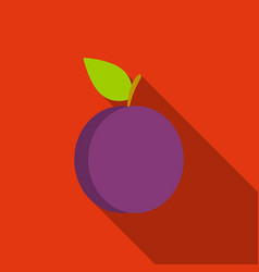 Plum icon flat singe fruit icon vector