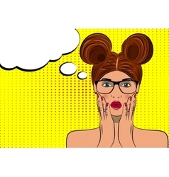 Pop art surprised brunette woman face vector